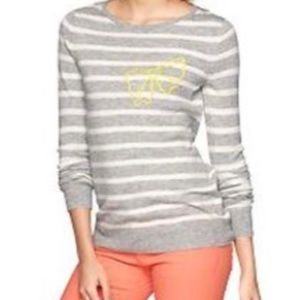 GAP Gray & White Striped Sweater with Yellow Bow